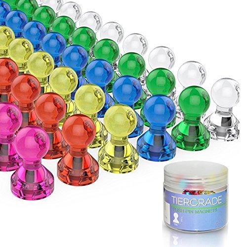 Tiergrade Magnete 60 Stück 7 Farbe Starke Magnete, Kühlschrankmagnete Tafelmagnete, Magnete für Kühlschrank Büro Whiteboard, schachförmig transparent