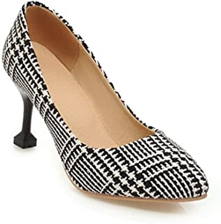 BalaMasa Womens Assorted Colors Travel Fabric Black Urethane Pumps Shoes APL10595-11 B(M) US