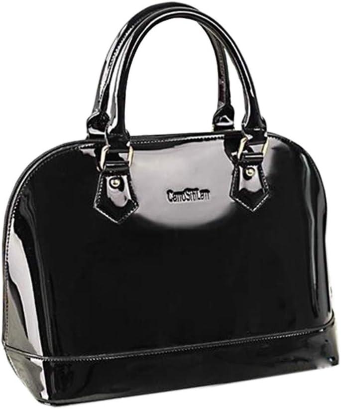 1940s Handbags and Purses History Yan Show Womens Satchel Purse Large Tote Lady Shoulder Bag Patent Leather Handbag Top Handle Shell Bag $33.99 AT vintagedancer.com