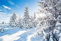 Qinunipoto クリスマス Merry Christmas 写真撮影用 背景布 背景 布 写真 摄影 撮影用 人物撮影 雪の森 背景シート 写真館 撮影スタジオ用 パーティー ポリエステル 洗濯可 1.5x1m