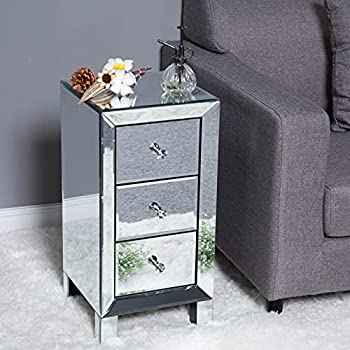 Bonnlo 3-Drawer Mirrored Nightstand End Tables Bedside Table for Bedroom Living Room Silver 11.7  L x 11.8  W x 23.9  H