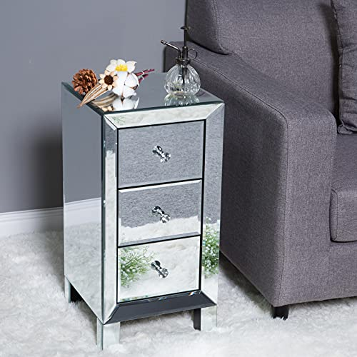 Bonnlo 3-Drawer Mirrored Nightstand End Tables Bedside Table for Bedroom, Living Room, Silver, 11.7' L x 11.8' W x 23.9' H