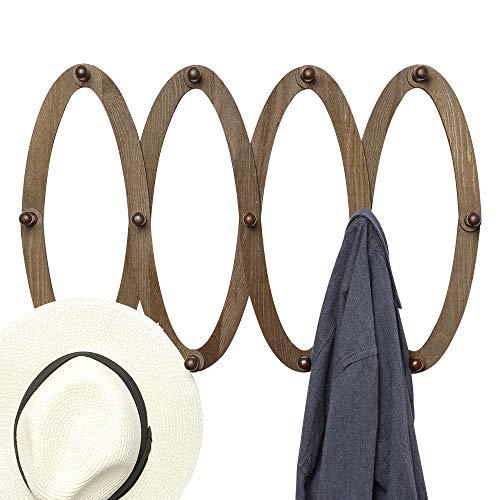 OROPY Perchero de Madera Extensible para Montar en la Pared con 13 Clavijas para Colgar Sombreros, Llaves, Bolsos, Tazas, Color Nogal