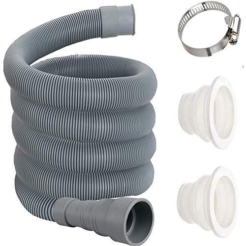 Manguera de desagüe de repuesto para lavadora y lavavajillas con ajuste de acero inoxidable Manguera pinzas de fijación y tubo tapón de sellado 6m