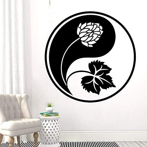 wZUN Yin Yang und Laub Wandtattoo Yoga Meditation Raumdekoration 57x57cm