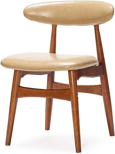 Esszimmerstuhl Schreibtischstuhl aus Massivholz mit Rückenlehne PU-Stoff geeignet für Cafés (47  43  H  45,5cm)