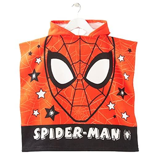 Poncho serviette de plage pour enfant avec capuche Spiderman 110 x 55 cm