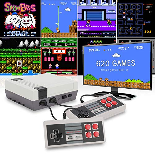 Jueapu Classic Game Consoles,Retro Game Console with 620 Built in Games with 2 NES Classic Controllers, Connected to the TV Mini NES Classic Edition,the Best Gift For Kids and Adults
