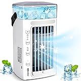 Aire Acondicionado Portatil Silencioso, 5 En 1 Mini Enfriador de Aire de Dobles Ventiladores, Mini Acondicionador de Aire Móvil con 3 Velocidades/7 Colores/ 480ML para Hogar Oficina, Regalo Verano