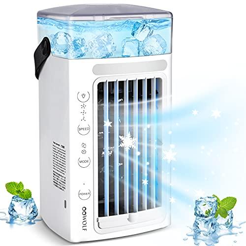 Mini Klimaanlage, 4 IN 1 Mobile Klimageräte, 3 Geschwindigkeiten, 7 Farben LED, USB Persönliche luftkühler klimagerät ideal für zu zimmer, Büro, Schlafzimmer