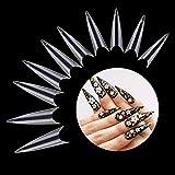 Buqikma 500Pcs Long Stiletto Nail Acrylic False Tips Clear Artificial Press on Fake