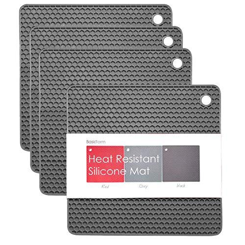 BasicForm Dessous de Plat Silicone Carré Résistant à la Chaleur Motif Octogonal (Pack de 4) (Gris)