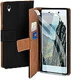 moex Handyhülle für Sony Xperia Z2 - Hülle mit Kartenfach, Geldfach & Ständer, Klapphülle, PU Leder Book Hülle & Schutzfolie - Schwarz