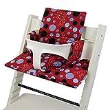 BambiniWelt - Cojín de asiento para trona Stokke Tripp Trapp, en 20colores, asiento de 2piezas, funda de repuesto rojo Rot Blaue Punkte Katze