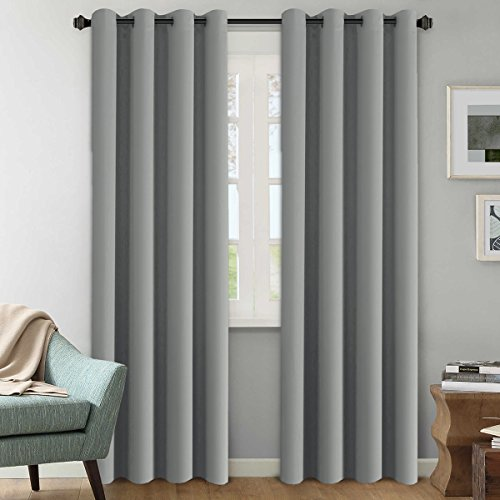 Blackout Curtains for Bedroom 108 Inches Length, Extra Long Thermal Insulated Grommet Curtains, Room Darkening Window Treatment Curtains/Draperies/Panels for Living Room, Dove Gray, 2 Panels
