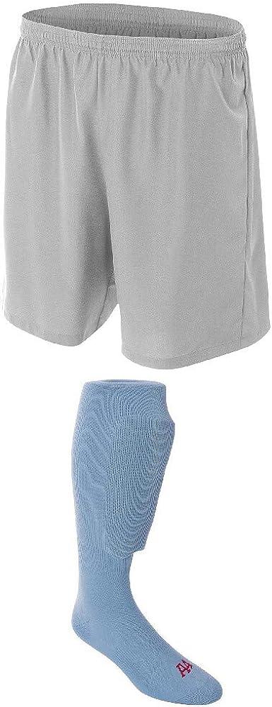 A4 Sportswear Silver Adult Medium Soccer Shorts Beauty 25% OFF products Blue Sock Light