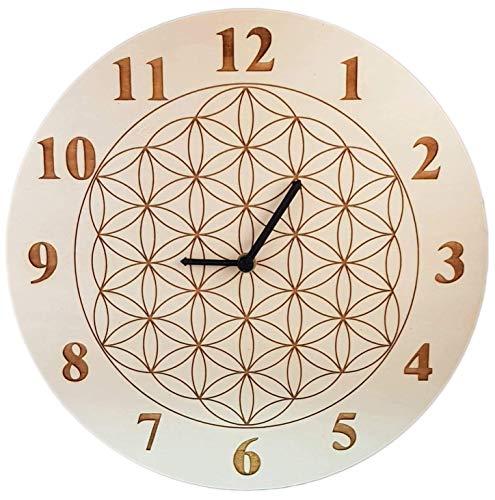Uhr Wanduhr Holz Blume des Lebens, Baum des Lebens, Samen des Lebens, Om; Ø 30cm Pappel oder Buche, mit Wunschgravur