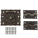 1pièce Motif rétro antique meubles décoratifs Cabinet Boîte à bijoux loquets de verrou Verrou et charnières 2pcs avec vis Couleur bronze