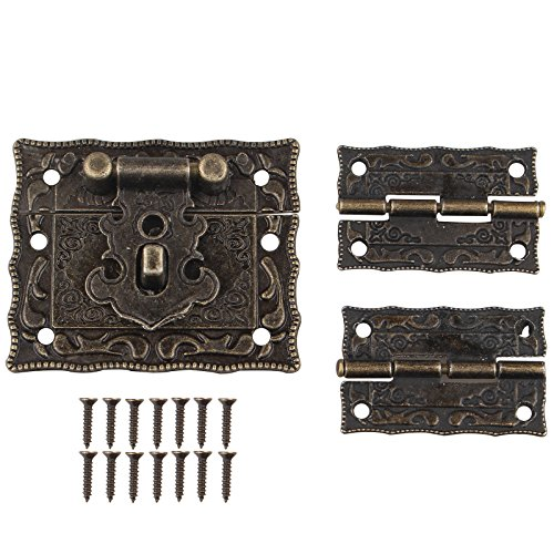 HALJIA 1pc Retro Antik Design Möbel Schrank Dekorative Jewelry Box Verriegelung schließbändern Schloss und 2 Scharniere mit Schrauben Bronze Farbe