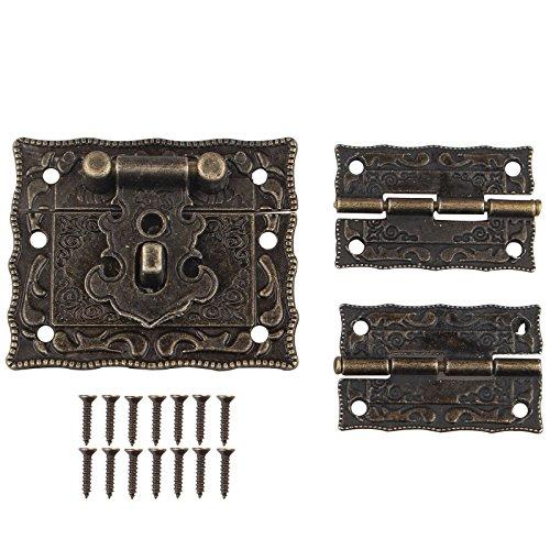 1PC color bronzo antico design retrò armadio mobili decorativi Jewelry Box chiusura Hasps serratura e pezzi cerniere con viti