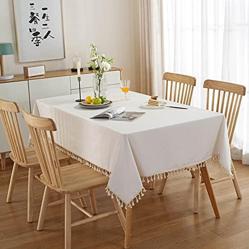 XGguo Adecuado para Cocinas Exteriores O Interiores Mantel Mesa Borla Blanca de Color Puro Simple Moderno