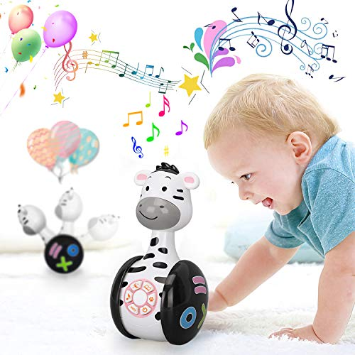 Early Education Music Toy,Baby Toy Toddler Toys,Music Story Book Toy,Roly-Poly Rattles Toys with Lights, Sounds and Music Cute Rattles Ring Bell Toys for 6 + Months Story Machine Infants Baby Tumbler
