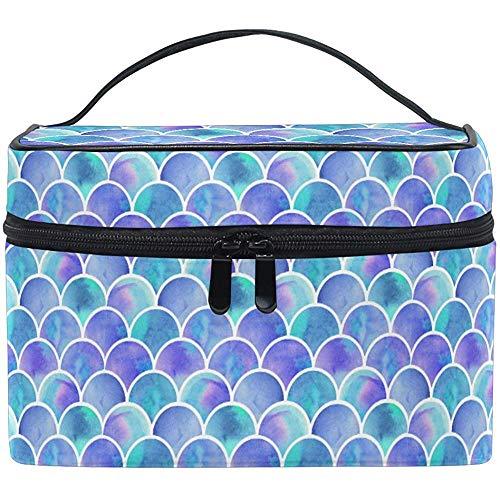 Aquarelle Arc-en-Ciel échelles de sirène Maquillage Sac transportant Portable Zip cosmétique Brosse Sac de Stockage