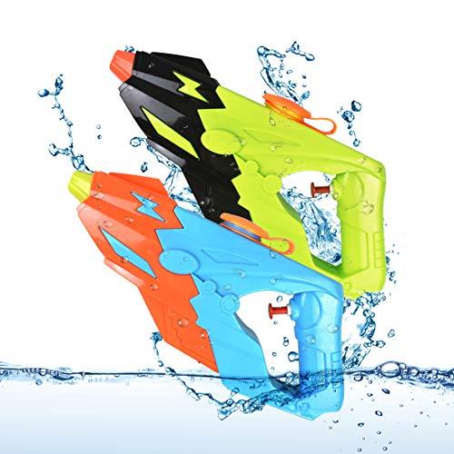 O-Kinee Wasserpistole, 2 Pack Water Gun Spielzeug 300ML Wasserspritzpistolen mit 8-10 Meter Reichweite, Strandspielzeug Wasserblaster Sommer Strand Pool Spielzeug für Jungen und Mädchen, Grün & Blau