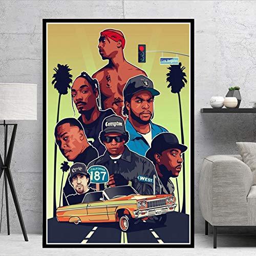 tgbhujk Westküste Hip Hop Biggie Smalls Ostküste Poster Wandkunst Bild Poster Und Drucke Leinwand Malerei Für Room Home Decor 50 * 70 cm Ohne Rahmen