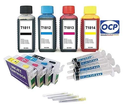 Navulbare cartridges met Auto-Reset-Chips zoals T1811, T1812, T1813, T1814 + 100 ml OCP Premium navulinkt zwart cyaan, magenta, geel