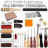HOSTK 33pc DIY En Cuir Artisanat Main Kit Outils Ensemble pour Coudre Coudre Estampage Sculpture Selle En Cuir...