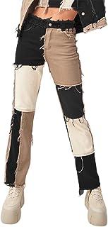 Las mujeres Patch Flare Jeans Patchwork Pantalones Moda Denim Lápiz Pantalones Casual Ropa