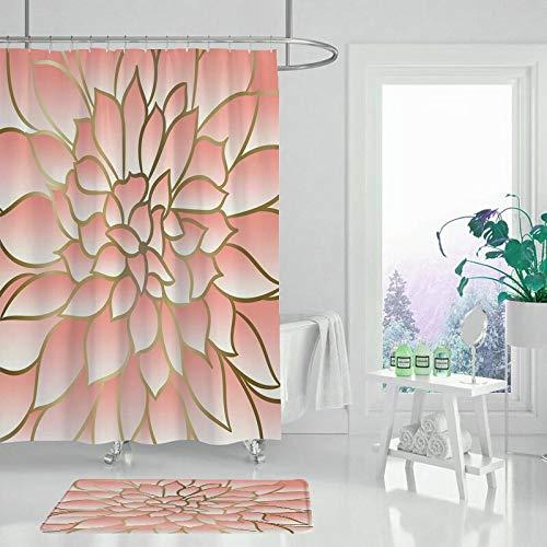 XCBN Gartenblume Blatt grüne Pflanze Bad Duschvorhang wasserdicht und schimmelfest Baddekoration Duschvorhang A4 90x180cm