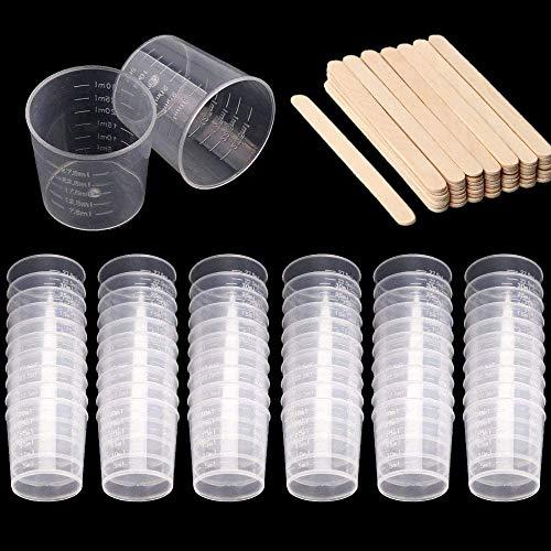 60 Packung 30 ml Kunststoffmischbecher cups graduierten Messbecher mit 50 Stück Holz Rühren sticks Kunststoff-Mischkit für Harzfarbe stain epoxy Mischen