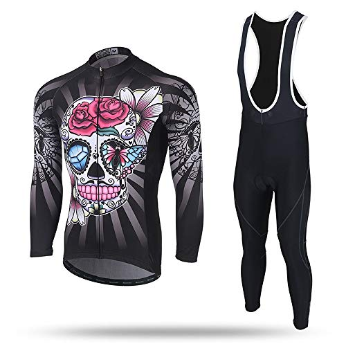 Xintown Maillot de Cyclisme Vélo de Montagne Vêtements pour Homme Maillot de Cycliste Manches Courtes Toison Sangle Tenue Manches Longues Vent de crâne (5,XXXL)