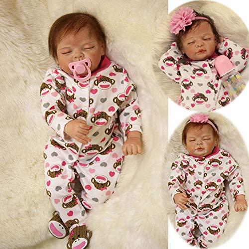 ZIYIUI 22 Pouces 55 cm Reborn bébé poupée Fille Vinyle Souple réaliste à la Main Nouveau-né...
