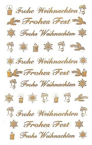 AVERY Zweckform Art. 52391 Aufkleber Weihnachten 44 Schriftzüge in gold (Weihnachtssticker aus transparenter Folie, selbstklebende Weihnachtsdeko für Karten, Geschenke, DIY) 2 Bogen mit je 22 Stickern