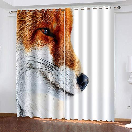 DRFQSK Cortinas Habitacion Opacas 2 Piezas con Ojales 3D Zorro De Arte Cortinas Termicas Aislantes Frio Y Calor para Salón Dormitorio Decoración De La Ventana 150 X 270 Cm(An X Al)