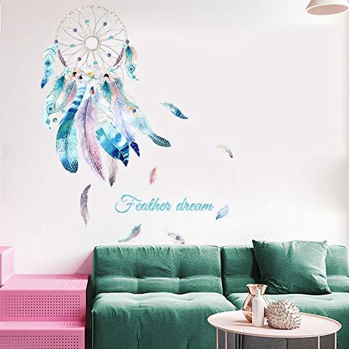Wandaufkleber Traumfänger, TANOSAN Wandaufkleber Wandtattoo für Schlafzimmer, DIY Wanddekoration für Wohnzimmer Kinderzimmer Wand Aufkleber | 89 x 51 cm (Rosa)