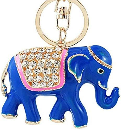 Liuqingzhou Co.,ltd 3D Elefant Schlüsselbund Glückverheißende ganze Ketten Bunte Emaille Kristall Tasche Anhänger Schlüsselbund Schlüsselring für Frauen