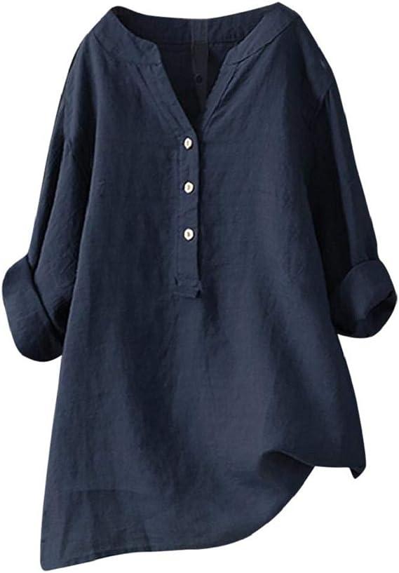 Camisetas Mujer Tallas Grandes Heavy SHOBDW Camisa De Manga Larga con Cuello Alto Blusa Casual Botones con Botones Túnica Suelta Camiseta Solid para ...