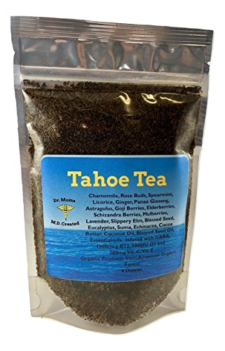 Dr Mom's Supplement Tea - LOADED with Vitamins! B12, C, E, D3, GABA, Essential Oils, Omega 3s, superfoods, and more! All Organic. Healing, Herbal Medicinal Tea. (Original Tahoe Tea, 4 oz Bag)