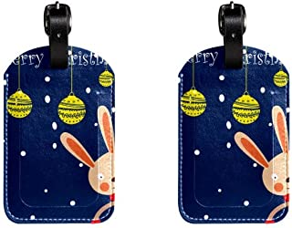 Merry Chrismas RabbitLeather Luggage Tags Suitcase Labels Bag Travel ID Bag Tag, 1 Pcs