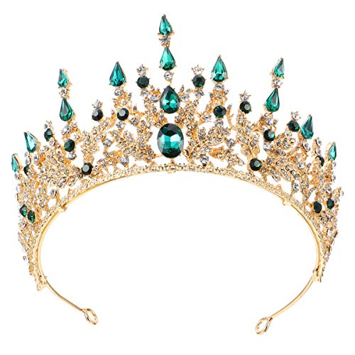 FRCOLOR Corona de Reina Barroca de Cristal Tocados de Novia Corona Real...