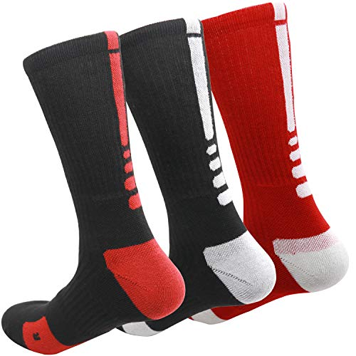 MUMUBREAL Men's Cushioned Compression Sport Socks, Black Black Red, One Size (3pack)