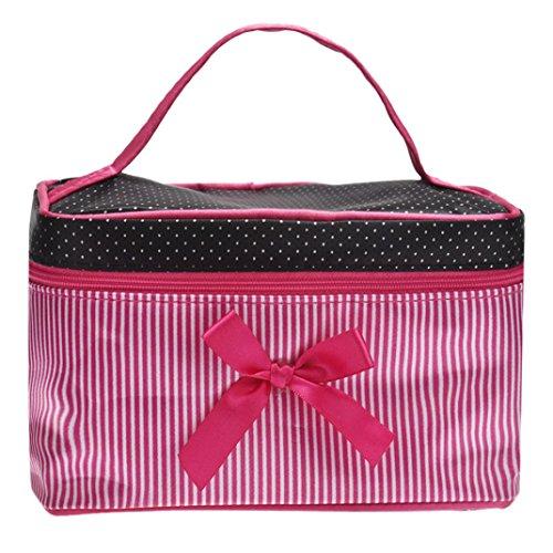 Trousses à Maquillage,LONUPAZZ Fashion Sac Cosmétique Voyage Femme Square Bow Stripe Trousse De Toilette (Rose vif)