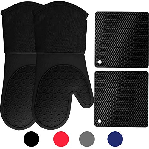 Homwe Silicone Oven Mitts and Potholders (4-Piece Sets), Kitchen Counter Safe Trivet Mats
