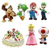 WELLXUNK® Super Mario Figures 6 pcs/Set Super Mario Toys, Figuras Super Mario Bros, Super Bros Juguetes Modelo, Super Mario Juguete, Mario Bros Figuras Juguete, colecciones de Modelos de PVC