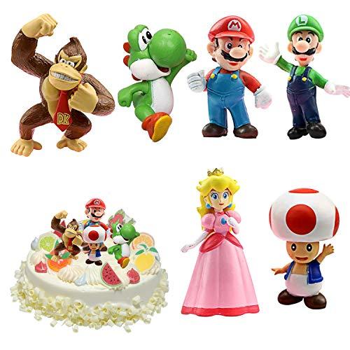 WELLXUNK Super Mario Figures 6 pcs/Set Super Mario Toys, Figuras Super Mario Bros, Super Bros Juguetes Modelo, Super Mario Juguete, Mario Bros Figuras Juguete, colecciones de Modelos de PVC