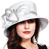 FORBUSITE Church Kentucky Derby Dress Hats for Women White Striped